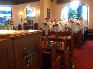 Our adult choir sings for a church service.