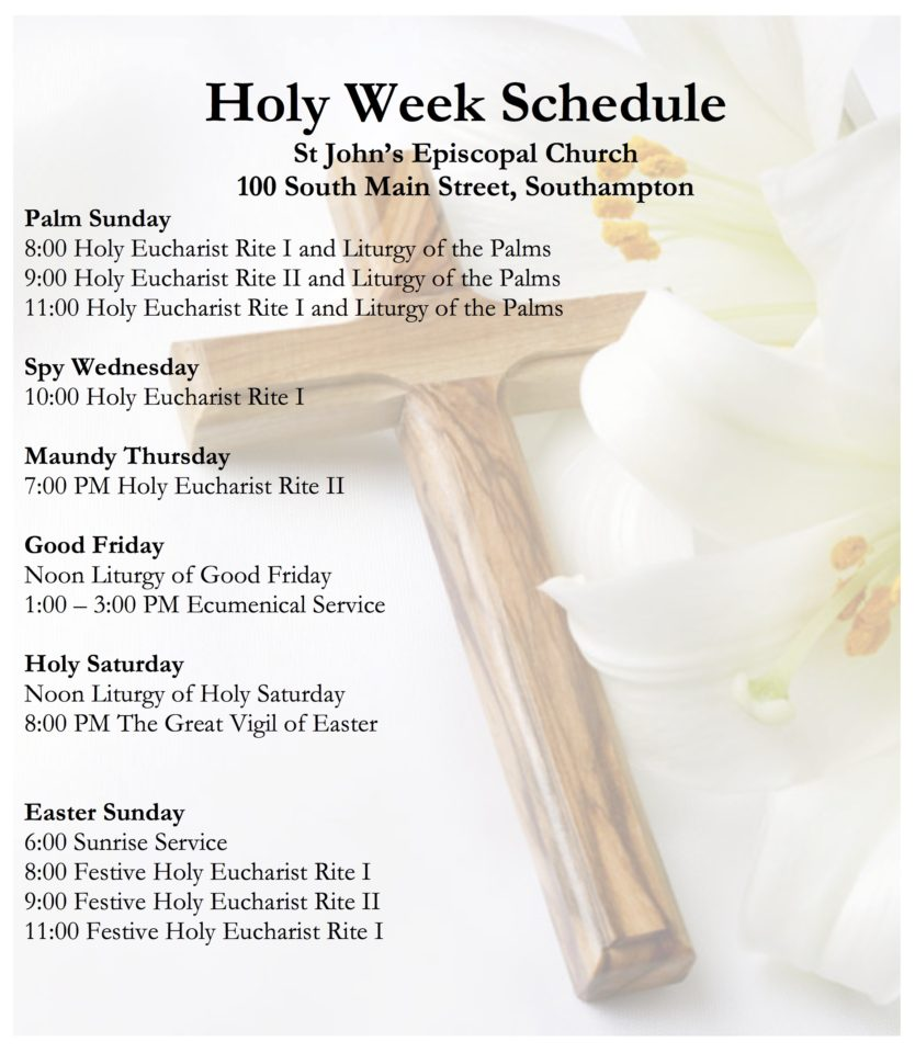 Holy Week Schedule 2017